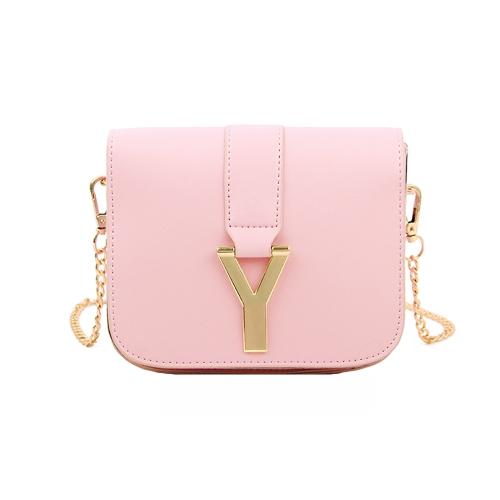 Nueva cadena de moda las mujeres bolso PU cuero Color caramelo Mini bandolera bandolera rosa