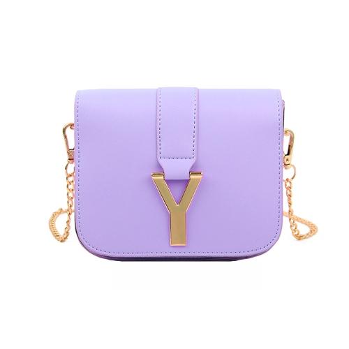 Nueva cadena de moda las mujeres bolso PU cuero Color caramelo Mini bandolera bolso púrpura