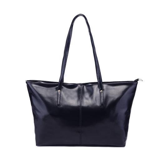 Nowe mody Kobiety PU Leather Tote torebka Cukierki Kolor Czarny Torba na ramię