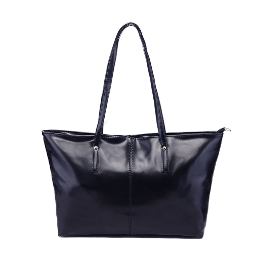 Nueva moda mujer PU bolso Color caramelo Tote bolso negro de cuero