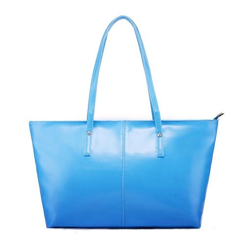 Nueva moda mujer PU cuero bolso Color caramelo Bolsa bandolera azul
