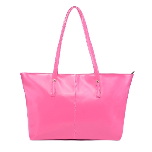 Color de caramelo de nueva moda mujeres PU cuero bolso Tote bolso Rose