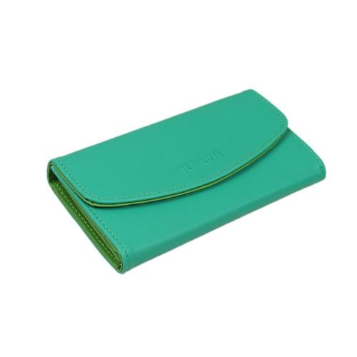 Las mujeres coreanas moda PU bolso Color caramelo cartera bolso de embrague verde