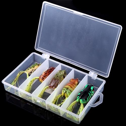 5pcs приманки рыбалка приманки Мягкие крюк с коробкой