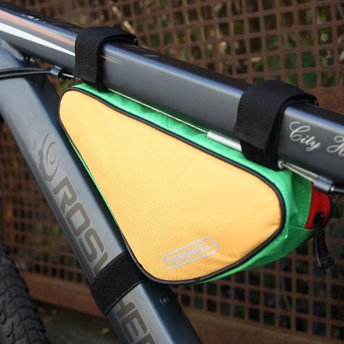 ROSWHEEL Triangolo Ciclismo biciclette tubo anteriore telaio borsa all'aperto Bike Pouch 1,5 L giallo montagna & Green 12657