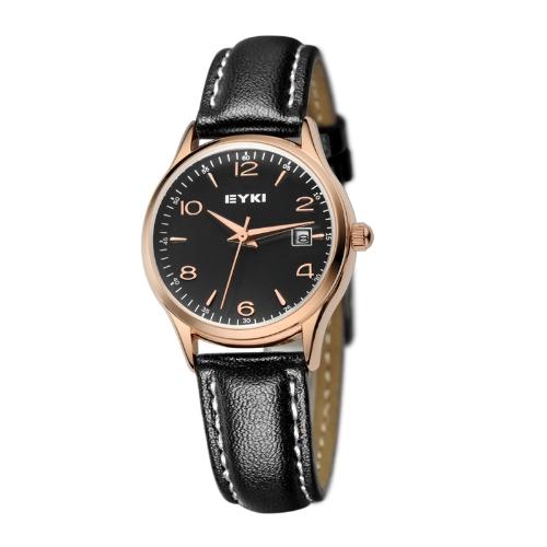 EYKI Fashion Classic Lover's Watch Table Quartz Leather Watchband EET8729 Women Female Golden-Black