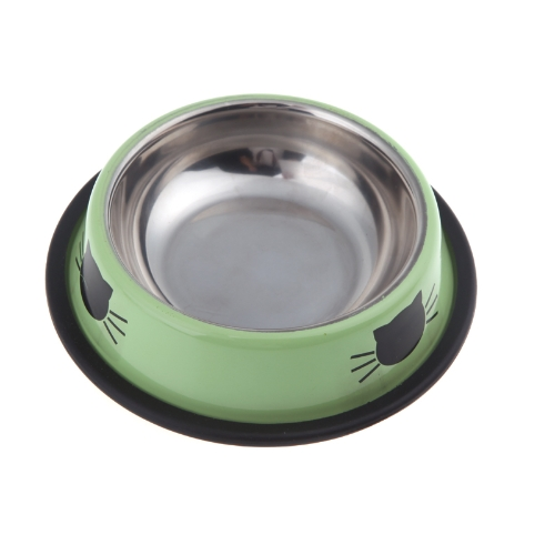 Small Stainless Steel Dog Cat Pet Feeding Water Bowl with Rubber Rim