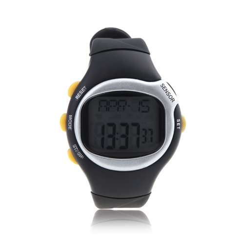 Square Dial Calorie Counter Pulse Heart Rate Monitor Sport Exercise Watch Black