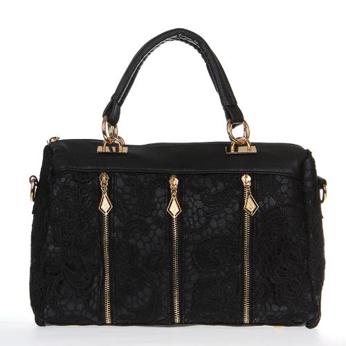 Moda Lady Retro rendas bolsa PU couro (falso) Tote Crossbody ombro bolsa preto feminina
