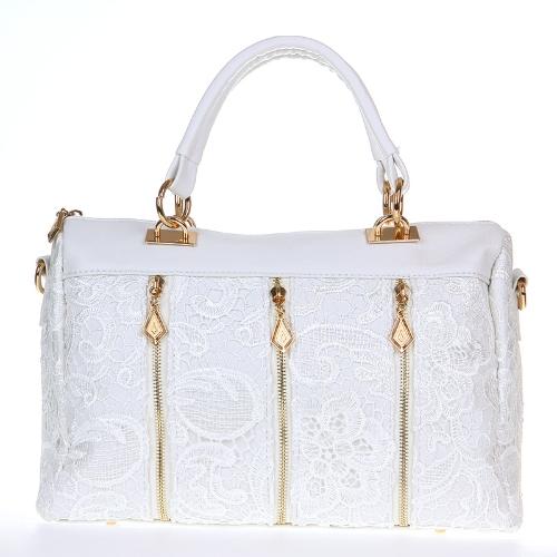Moda de señora Retro encaje bolso PU de piel (sintética) Bolsa bandolera hombro bolso blanco