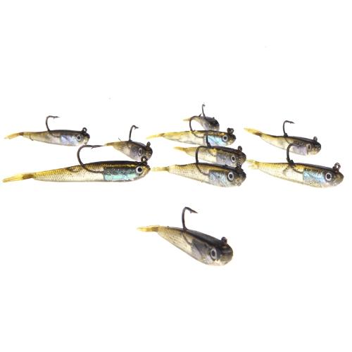 Lixada 10Pcs 70mm 6g Soft Bait Fishing Lures Lead Jig Head Fish Tackle Sharp Hook Image