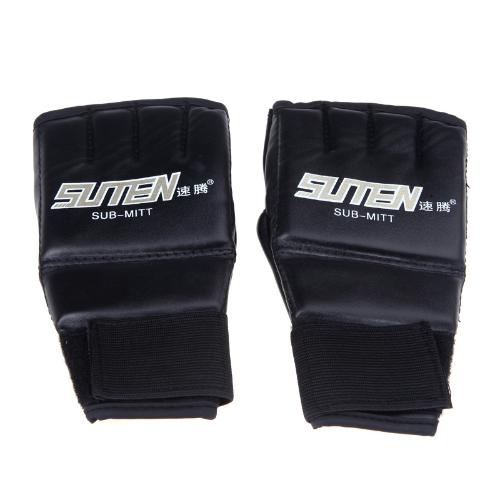 PU cuoio mezza Mitts Mitten MMA Muay Thai formazione punzonatura Sparring boxe guanti d'oro