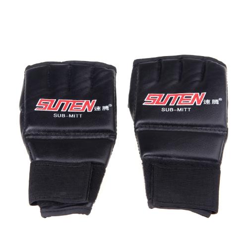 PU レザー半分ミット ミトン総合格闘技ムエタイ ボクシングのスパーリングをパンチング トレーニング手袋赤