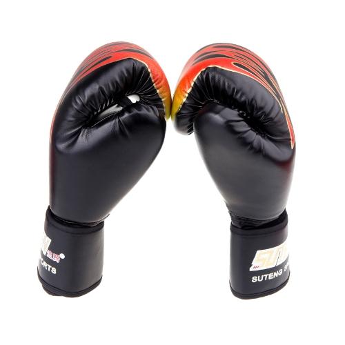 PU レザー MMA プロ炎ムエタイ トレーニング スパーリング ボクシング グローブ黒パンチング