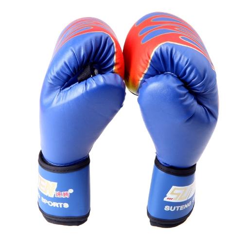 PU cuoio MMA professionale fiamma Muay Thai Training punzonatura Sparring guantoni da boxe blu