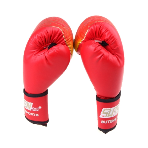 PU Leather MMA Professional Flame Muay Thai Training Punching Sparring Boxing Gloves Red