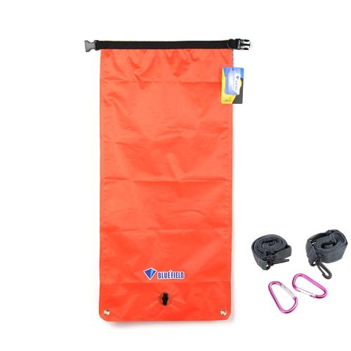 BlueField Outdoor Waterproof Dry Bag Sack 22L Small Size Single/Double Shoulder Bucket for Canoe Boating Kayaking Reddish-orange