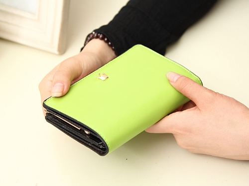 Moda coreana mulheres bolsa PU couro carteira longa embreagem bolsa malote os titulares do cartão verde claro