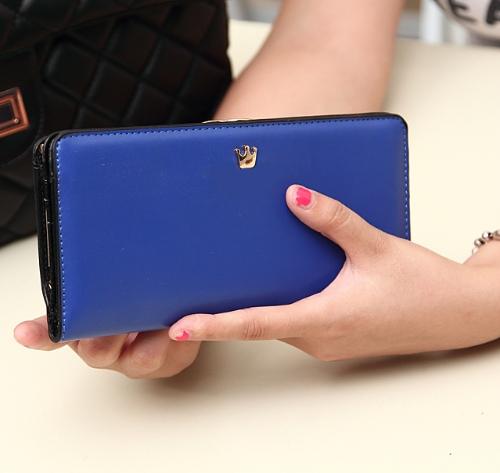 Las mujeres coreanas moda monedero PU cuero Billetera larga bolsa de embrague bolsa tarjeta titulares azul