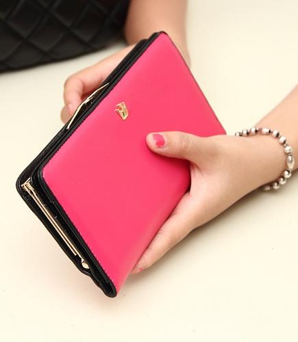 Las mujeres coreanas moda bolso PU cuero cartera larga bolsa de embrague bolsa tarjeta titulares rosa