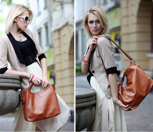 Nueva moda mujer bolso especial doble manijas superiores breve bandolera Messenger bolsa marrón oscuro