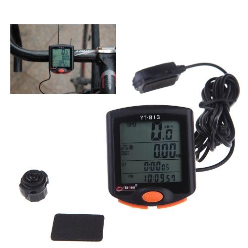 BoGeer YT-813 Importierte Sensoren LCD Hintergrundbeleuchtung Fahrrad Computer Geschwindigkeitsmesser Regen