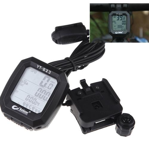 BoGeer YT-823 Imported Sensors LCD Backlit Bicycle Speedometer Odometer Computer Rainproof