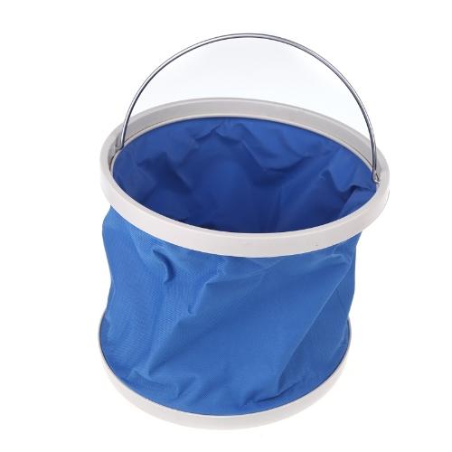 Outdoor Folding Fishing Camping Car Washing Hiking Water Bucket Barrel 9L Blue