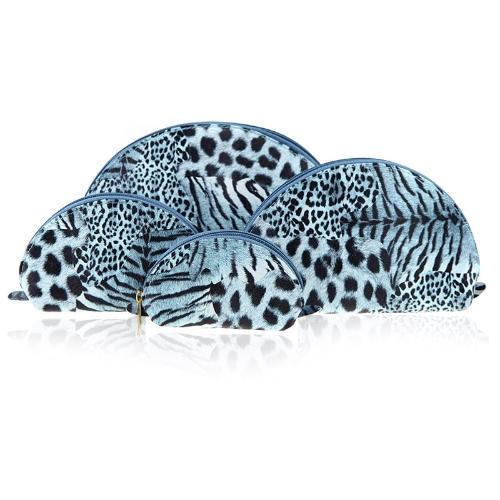 4 szt Zestaw kosmetyczne Torby Wielofunkcyjny Makijaż Przypadki Leopard Shell Shape Niebieski
