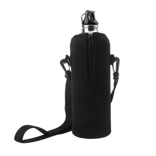 1000ML Bottle Insulator Outdoor Zipper Removable Straps  Neoprene Black