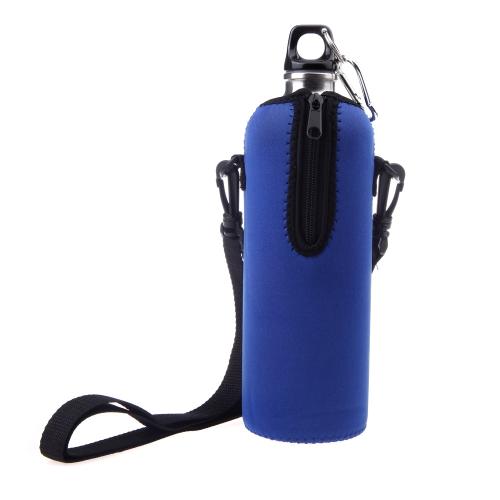 1000ML Botella Aislante cremallera exterior desmontables correas de neopreno azul