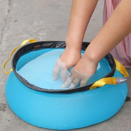折り畳み式の屋外水洗面器ポータブル ナイロン洗浄バッグ クイック乾燥したキャンプ ピクニック足風呂 10 L