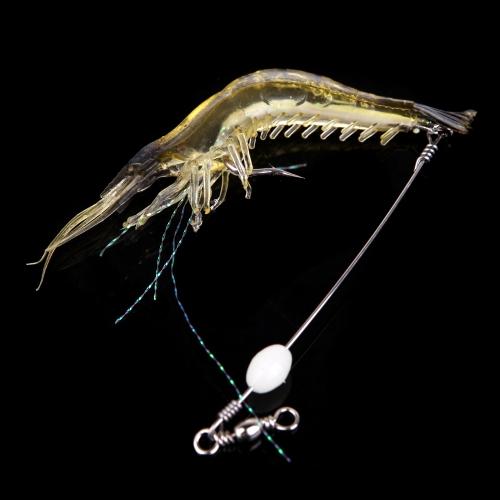 18cm 8g Artificial pesca Señuelos camarón biónico suave cebo pesca con gancho noctilucentes luminosa noche resplandor del grano negro