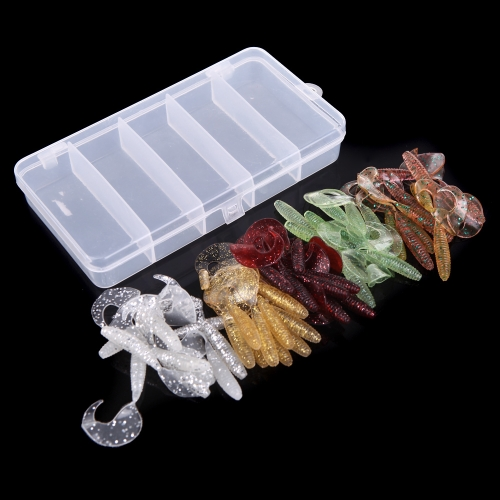 Lixada Simulation Worms Fishing Lures Bionic Single Tail Soft Baits Fishy Smell with Plastic Fishing Tackle Box 50Pcs