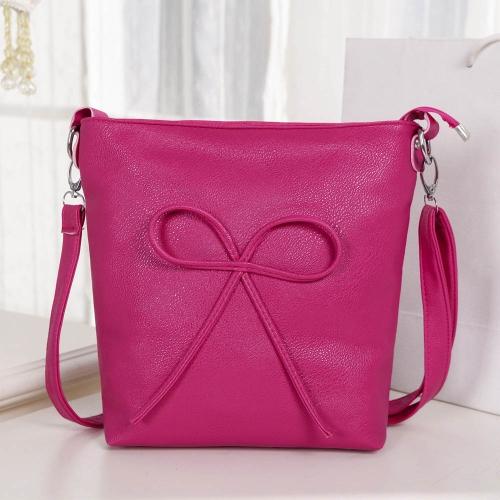 Bonito moda mulheres bolsa de ombro arco cor dos doces PU couro Messenger Bag Rose