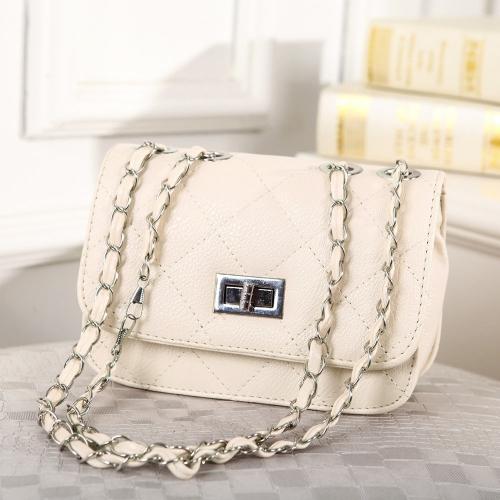 Moda eleganckich kobiet Dziewczyna Bag PU Plaid skórzana torebka Chain Messenger Shoulder Bag Beige