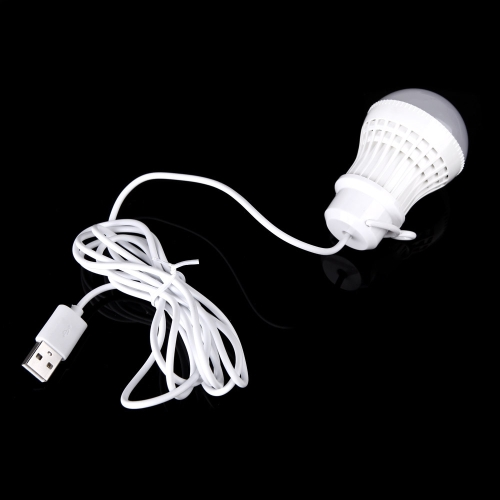 Mobile LED 5V 5W Bulb Lamp Light with USB Interface Hook Cable Line Flexible Plastic White for Power Bank Outdoor Travel Camping Tent Emergency