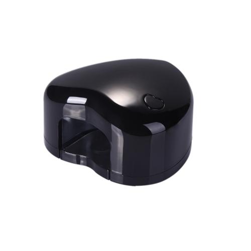 Mini Portable 1.5W LED Nail UV Lamp Gel Curing Light Spa Kit Heart Shaped USB Charge or AAA Battery Black