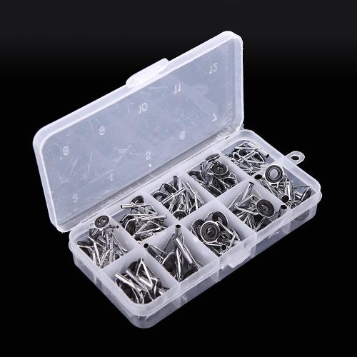Lixada 80Pcs Angelrute Führungsspitze Reparatursatz Set DIY Augenringe unterschiedlicher Größe Edelstahl-Rahmen mit Box