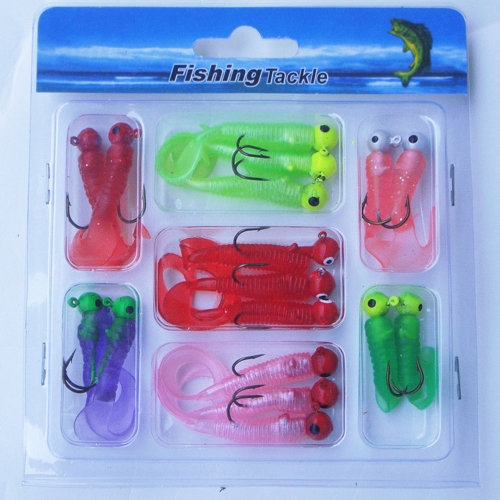 17Pcs pesca Lure Set ganci piombo testa Jig morbido Worm Grub Single Tail esca pesca affronta