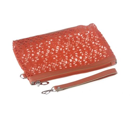 Bolso de Cosmética Bolsa de Maquillaje Bolso recipiente Medio transparente Sunbag Naranja
