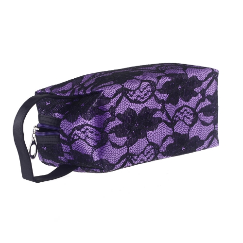 Cosmetic Bag Make Up Bag Container Pouch Handbag Floral Lace Embroidery Purple