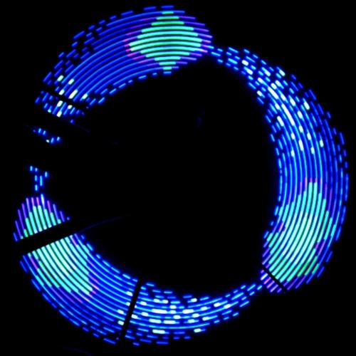 Lixada Luz Lámpara RGB de Rueda para Bicicleta Doble Cara Colorido Arco Iris 32 LED 42 Patrón