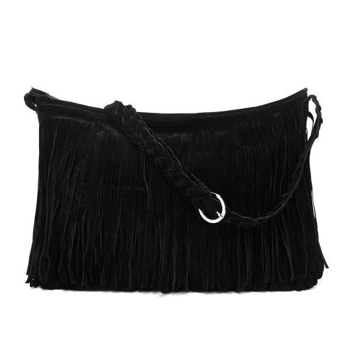 Fashion Women Fringe Tassel Shoulder Bag Cross-body Bag Messenger Handbag Black