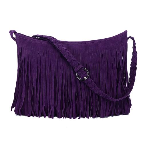 Mode Frauen Fringe Quaste Umhängetasche Cross-Body Bag Messenger Tasche lila
