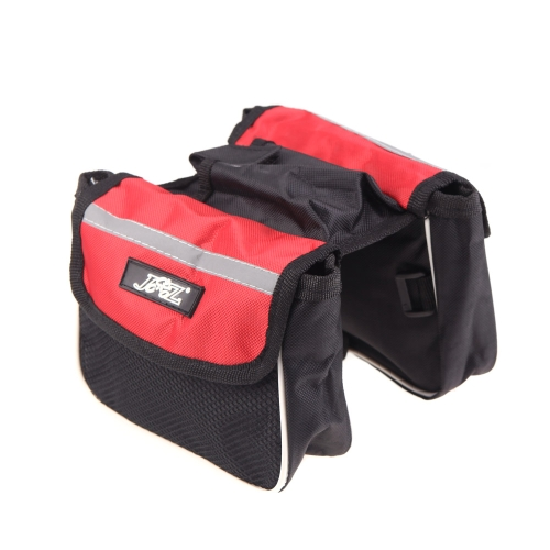 Cycling Bicycle Bike Frame Pannier Saddle Front Tube Bag Double Sides Outdoor Traveling Red