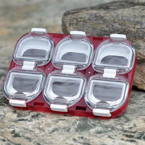 Mini Fishing Tackle impermeabile  cassa   scatola di immagazzinaggio del gancio di pesca con il magnete 6 scomparti rosso