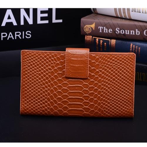 Moda mujer cuero genuino bolso cocodrilo patrón Color caramelo embrague bolsa cartera marrón