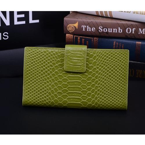 Moda mujer cuero genuino bolso cocodrilo patrón Color caramelo embrague bolso cartera verde