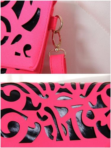 ファッション女性エンベロープ クラッチ PU レザー カット フラップ オーバー トップ クロスボディ ショルダー バッグ ピンク
